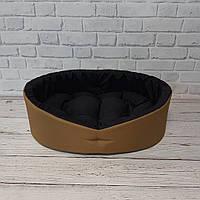 Мягкий лежак для собак и котов, Спальные места для домашних животных, коричневый с черным