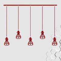 Подвесная люстра на 5-ламп RINGS-5 E27 красный
