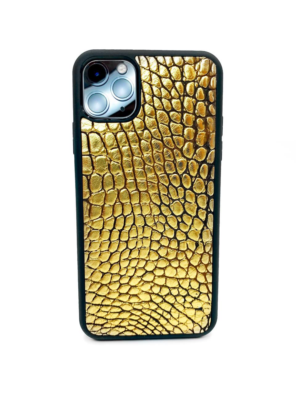 Чехол для iPhone 11 Pro Max золотого цвета из кожи Крокодила