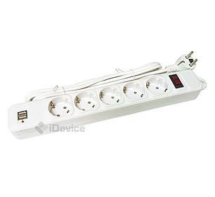 Сетевой фильтр с USB Greelite 3 м на 5 розеток, фото 2