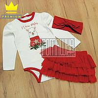 Комплект новогодний 86-92 1-1,5 года костюмчик для девочки боди фатинова юбка повязка на Новый год 8029 Красны