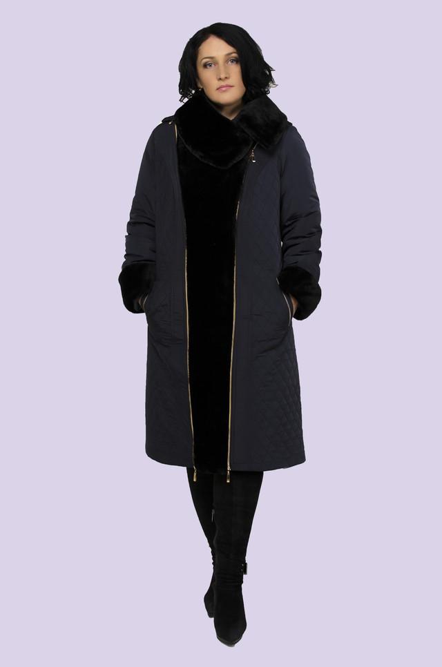 Зимнее пальто и пуховики женские с мехом под мутон, теплое, легкое, стильное с воротником 48-58 размера, фото 1