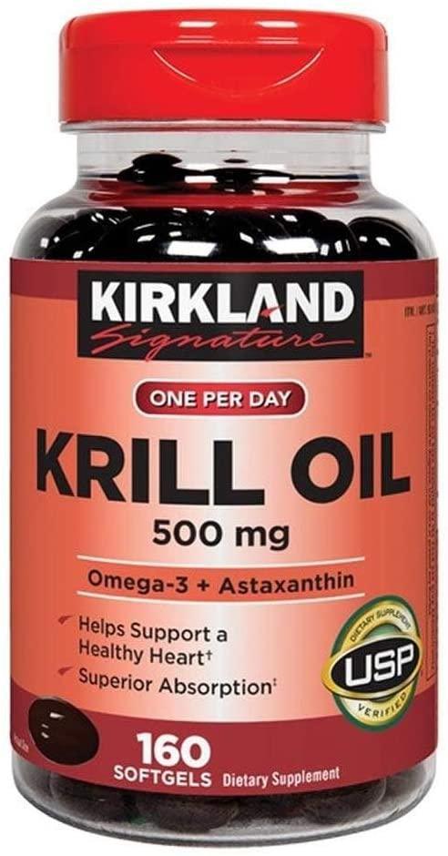 Kirkland Signature krill oil 500 mg. 160 softgels