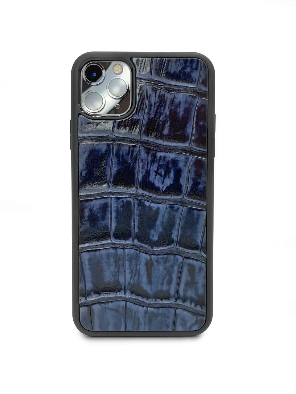 Чехол для iPhone 11 Pro Max синего цвета из кожи Крокодила