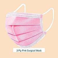50 шт! Розовые маски медицинские трехслойные с мельтблауном