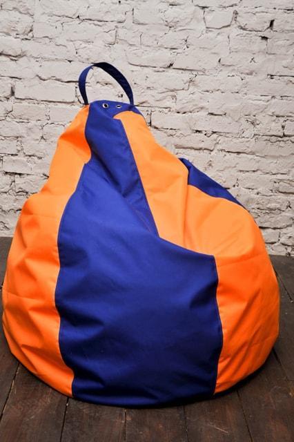 Крісло-мішок Груша оксфорд синьо-помаранчовий (558)