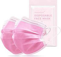 50 шт! Трехслойные медицинские маски с мельтблауном, розовые