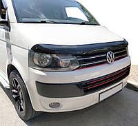Volkswagen T5 рестайлинг 2010-2015 гг. Дефлектор капота Фольксваген Т5 Мухобойка (EuroCap)