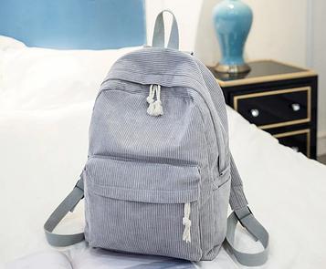 Жіночий сірий вельветовий рюкзак код 3-395