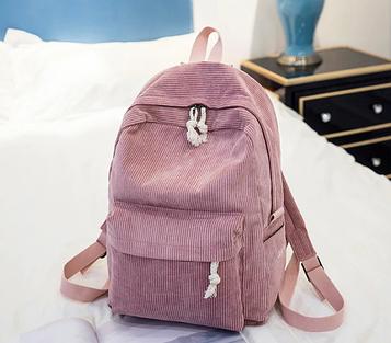 Жіночий рожевий вельветовий рюкзак код 3-395