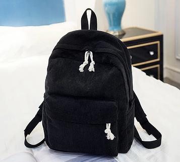 Жіночий чорний вельветовий рюкзак код 3-395