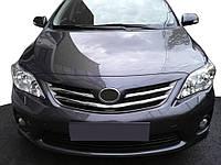 Toyota Corolla 2007-2013 гг. Накладки на решетку радиатора Тойота Королла (3 шт, нерж.)