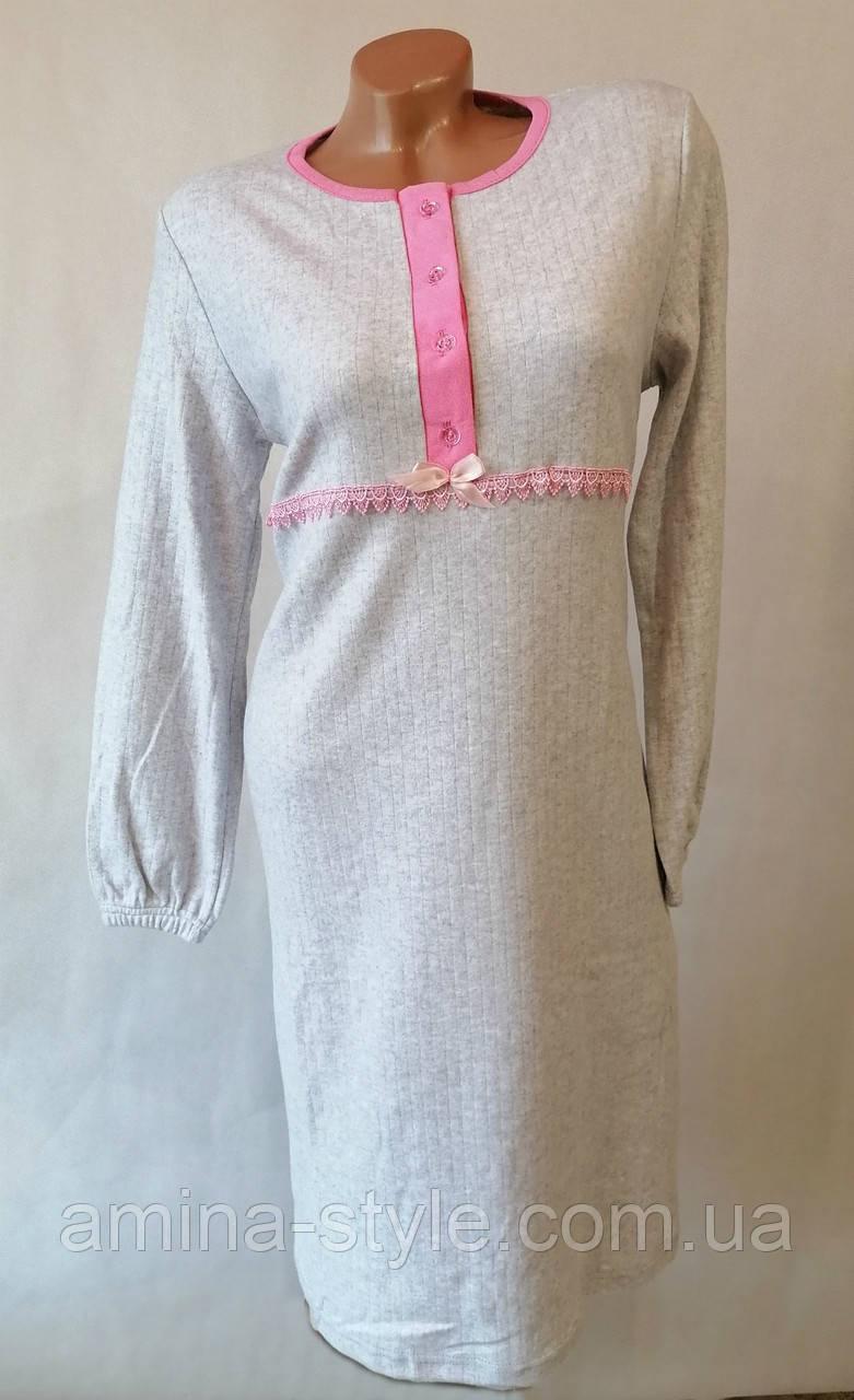 Женская утепленная ночная рубашка. Ночнушка женская длинный рукав, кашемир.