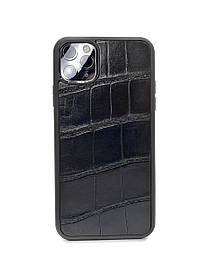 Чехол для iPhone 11 Pro Max чёрного цвета из кожи Крокодила