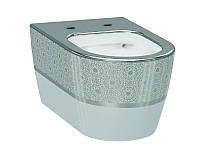 Alfa Чаша подвесного унитаза белый/декор серебро 3104-2616-1201 IDEVIT