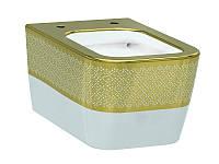 Halley Чаша подвесного унитаза белый/декор золото 3204-2616-1101 IDEVIT