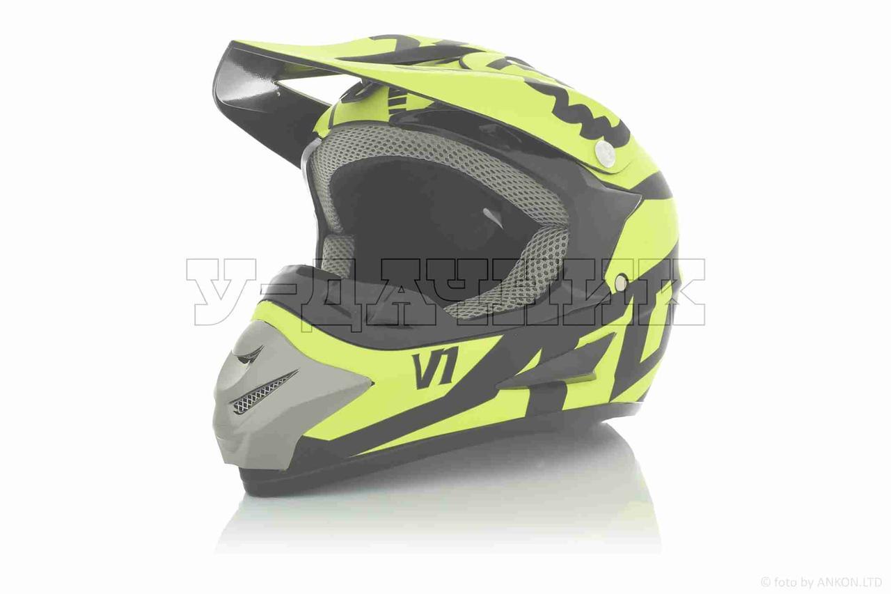 "Шлем кроссовый  ""FOX""  (#125, V1, M, Matte-black-green)"
