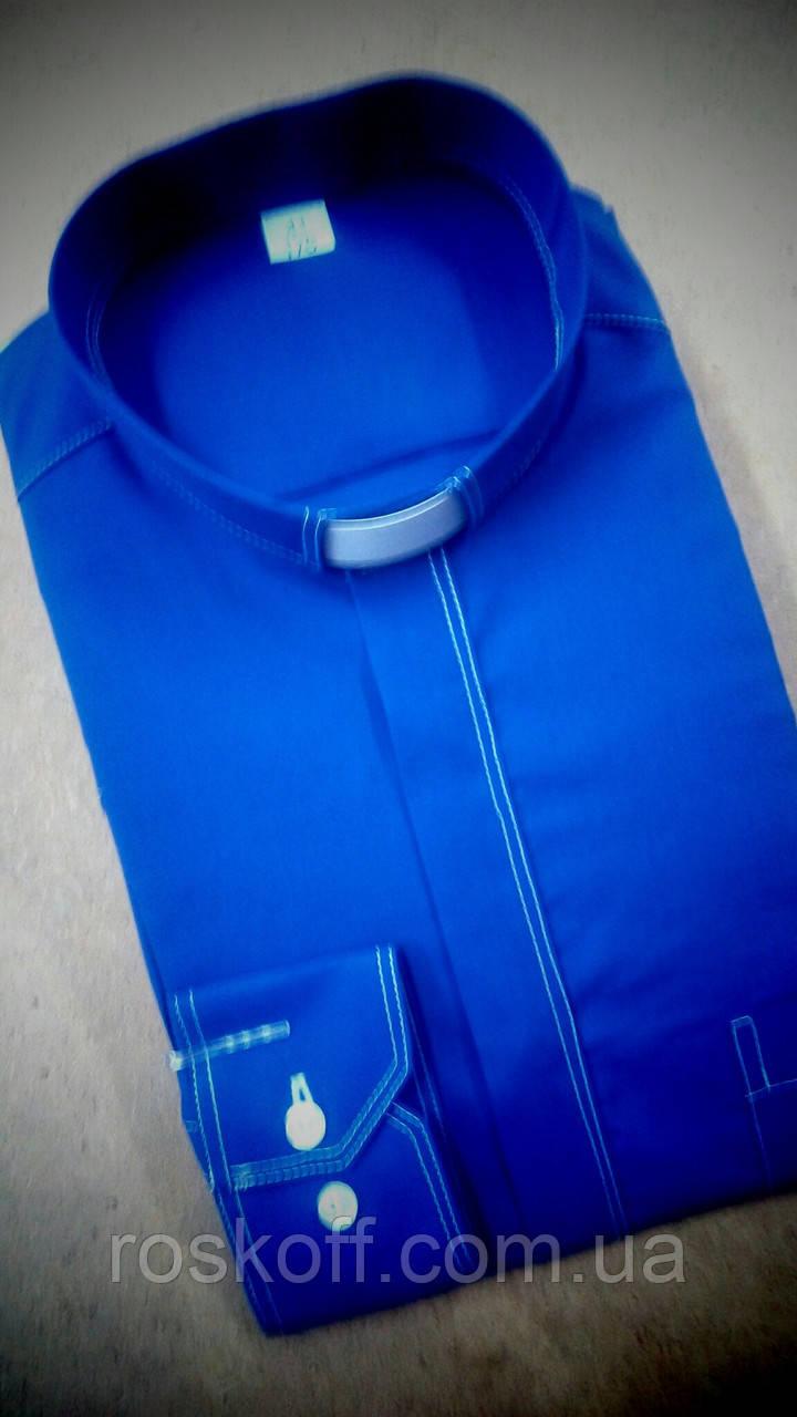 Синяя рубашка с белой оздоблюющей строчкой с длинным рукавом