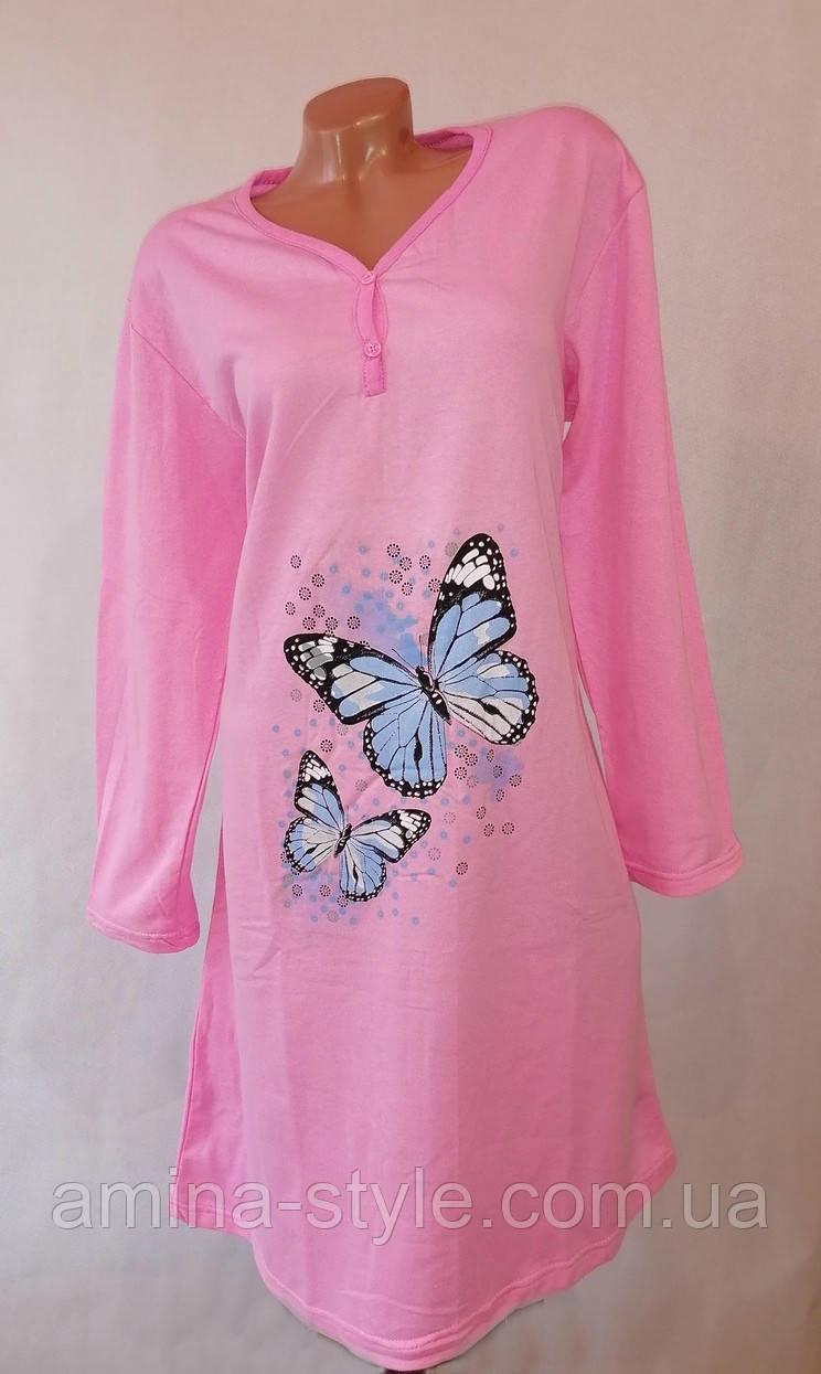 Женская утепленная ночная рубашка. Ночнушка женская длинный рукав, начес XXL(50-52)