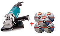 Угловая шлифмашина Makita GA9061 + 5 зачистных диска по металлу Makita 230 мм GA9061-D-184875, КОД: 2367589