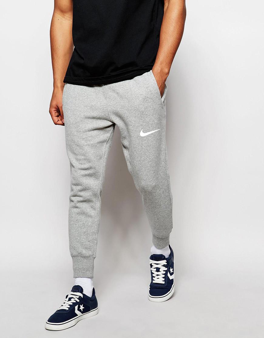 Мужские спортивные штаны серые Nike   Найк серые ( Белый принт )