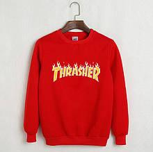 Світшот в стилі Thrasher чоловічий | Червоний| Трешер кофта