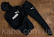 Чоловічий чорний спортивний костюм в стилі PUMA з капюшоном ( знак+ім'я )