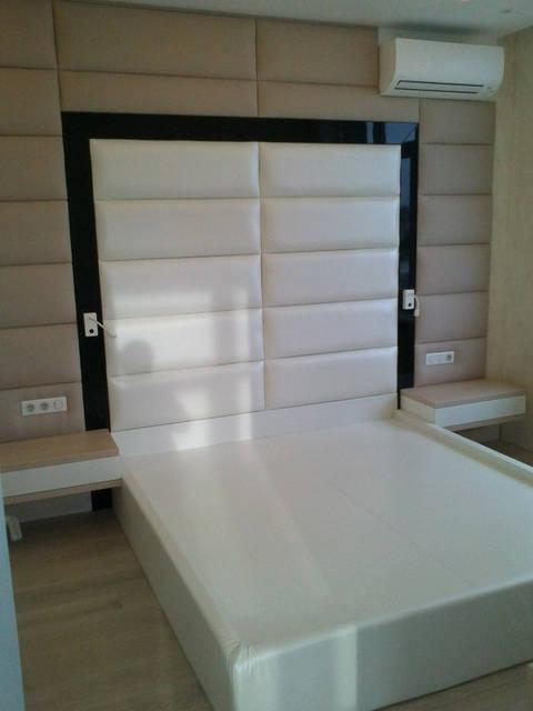 Кровать и стеновая панель. Натуральная кожа, МДФ 19 мм, ткань