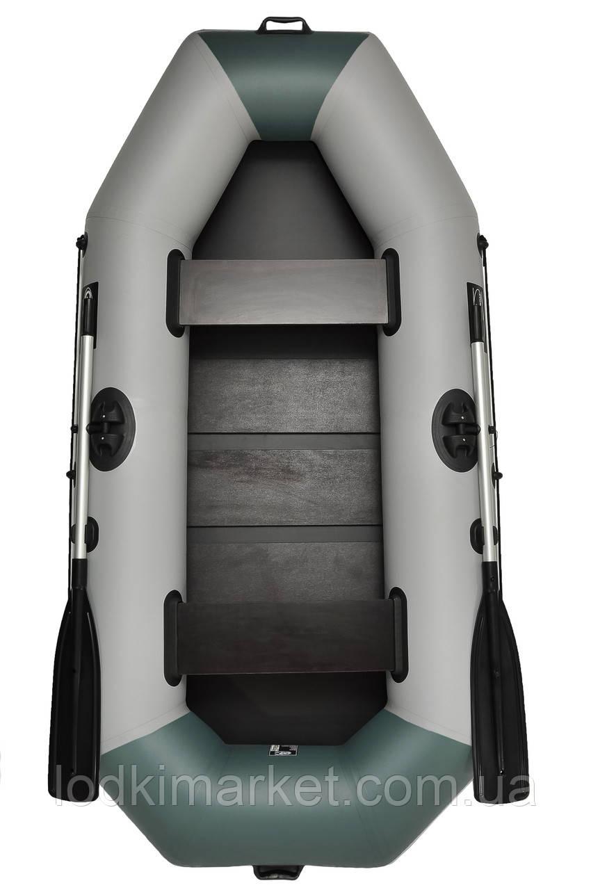 Двухместная надувная лодка ПВХ Grif boat G-250 серая с зеленым
