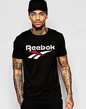Мужская черная футболка REEBOK(с белым принтом)