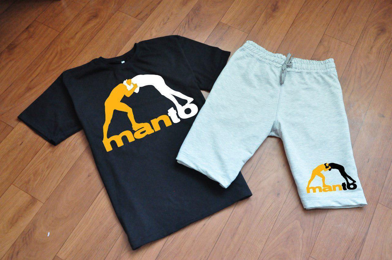 Чоловічий комплект футболка + шорти Manto чорного і сірого кольору