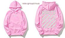 Худи Off White розовое с логотипом, унисекс (мужское, женское, детское)