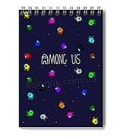 Блокнот Among Us для заметок в клеточку (50 листов) с героями любимой игры Амонг Ас