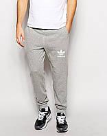 Мужские спортивные штаны Adidas | Адидас серые OLD ( Белый принт )