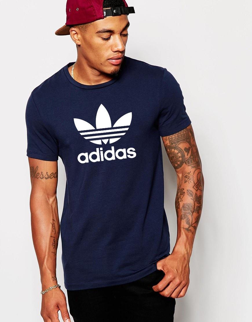 Футболка Adidas Адидас синяя цветок белый большой