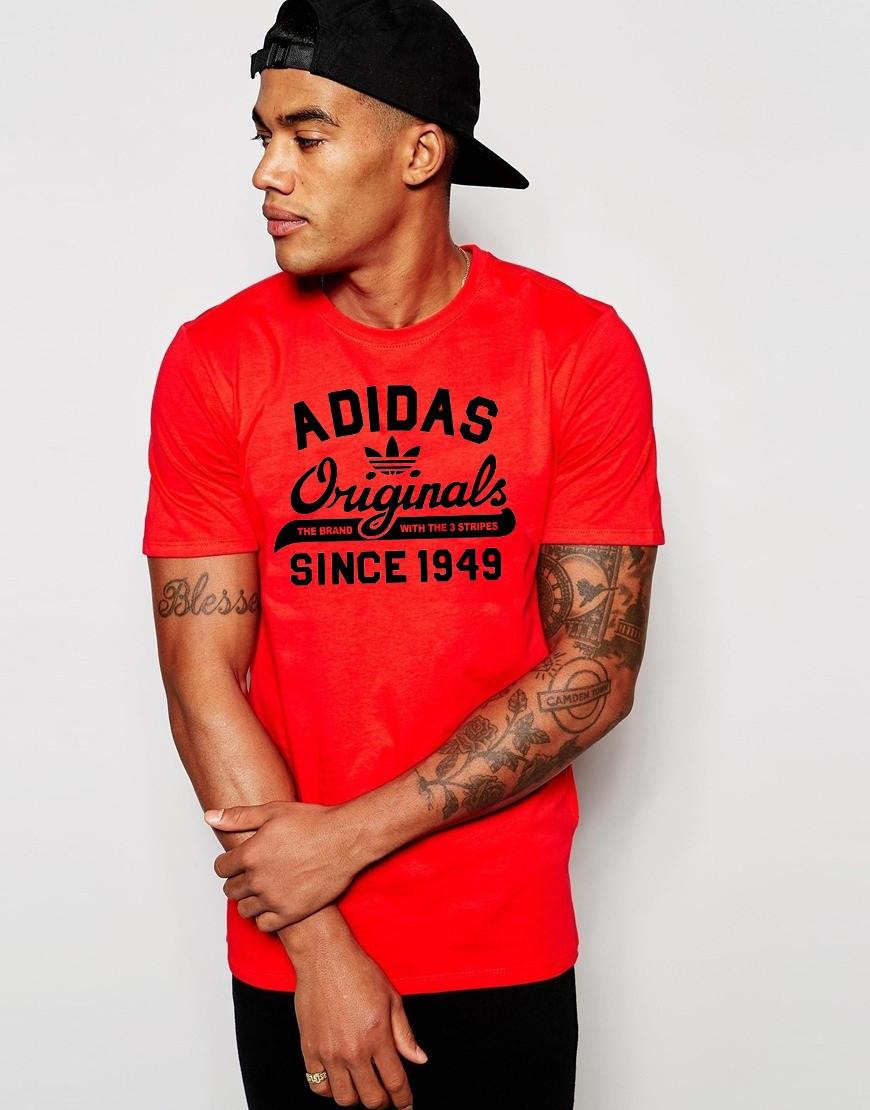 Футболка Adidas Адидас Ориджинал красная чёрный лого