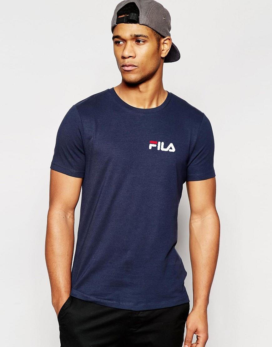 Футболкав стиле FILA синяя белый принт мелкий