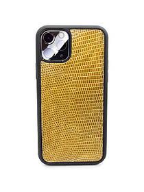 Чехол для iPhone 11 Pro жёлтого цвета из кожи Игуаны
