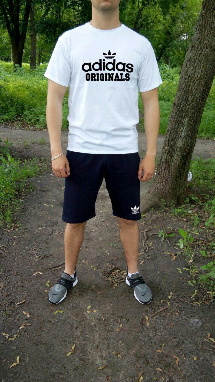 Мужской комплект футболка + шорты Adidas белого и синего цвета