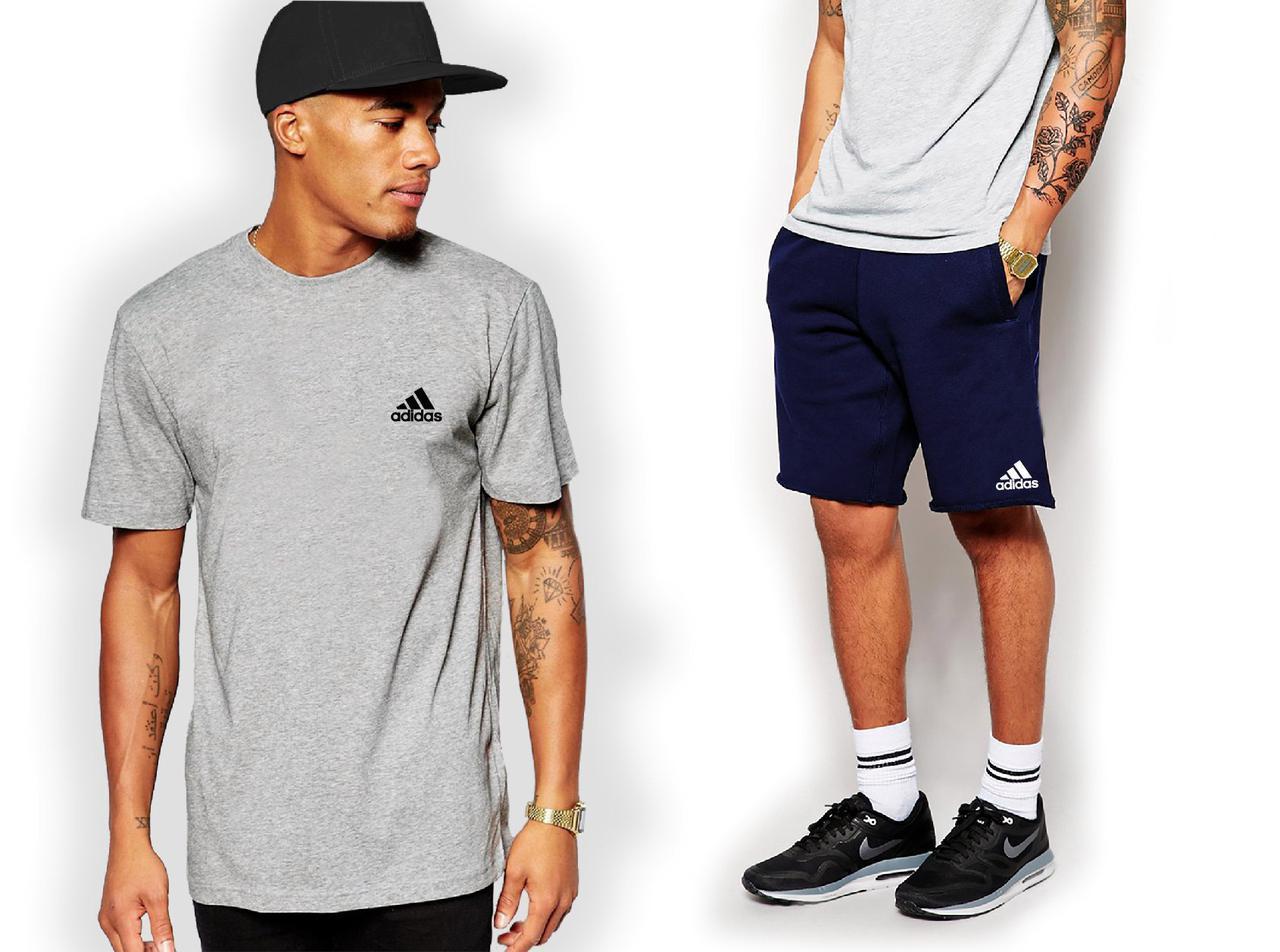 Мужской комплект футболка + шорты Adidas серого и синего цвета