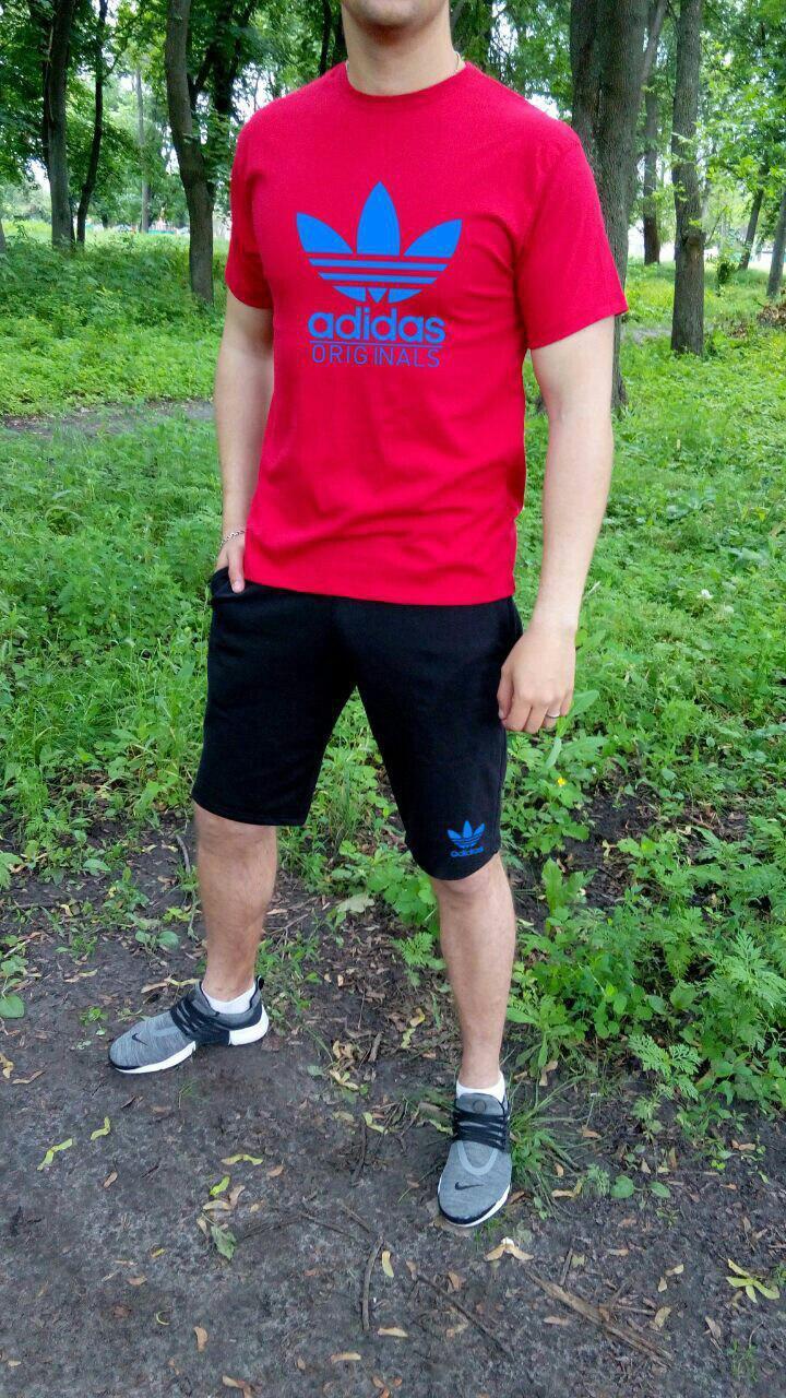 Мужской комплект футболка + шорты Adidas красного и черного цвета