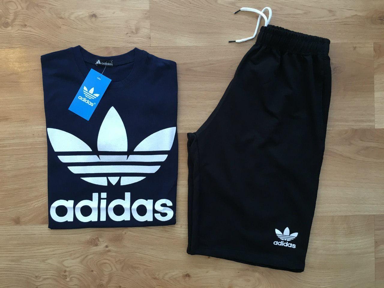 Мужской комплект футболка + шорты Adidas синего и черного цвета
