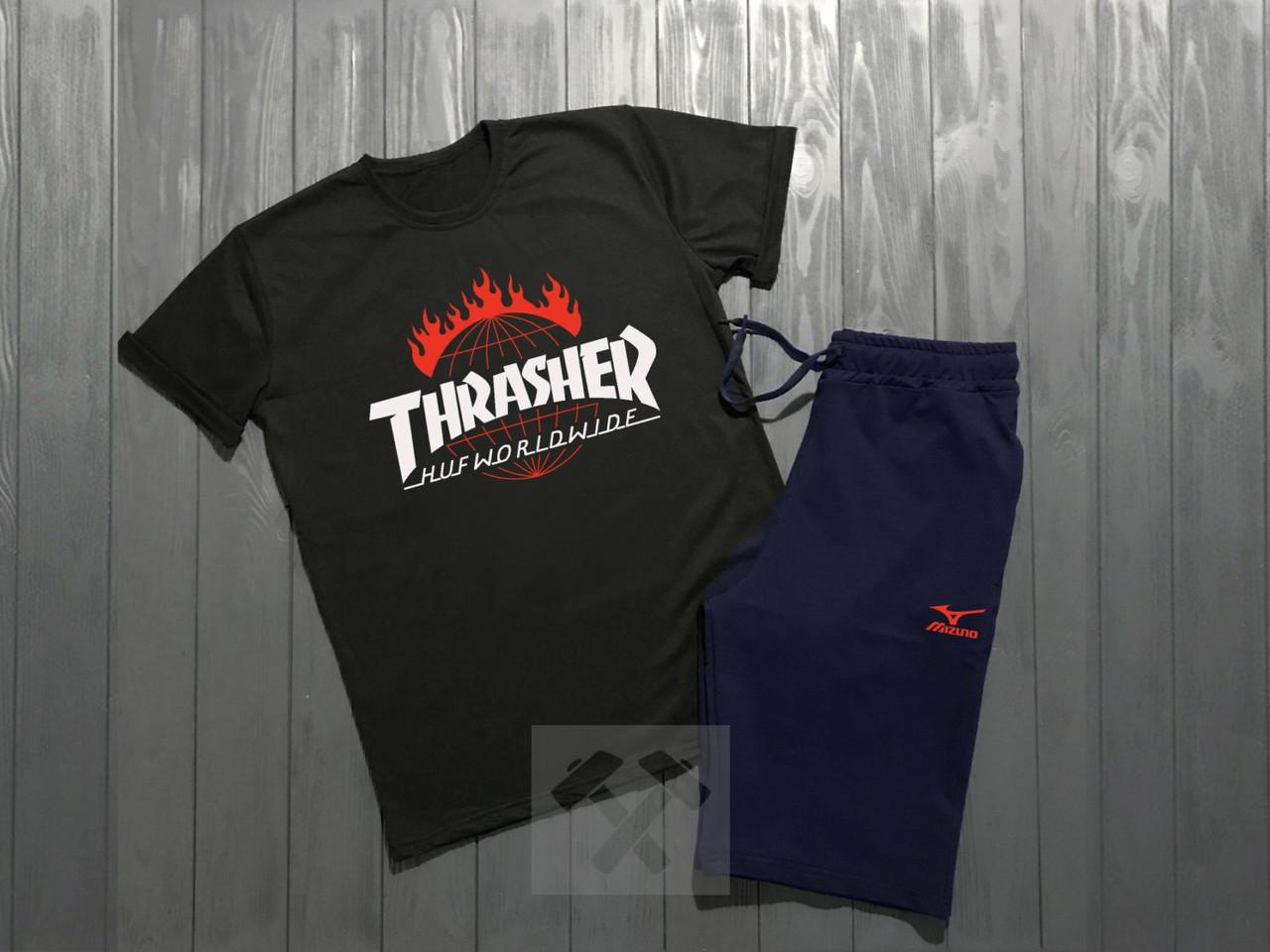 Мужской комплект футболка + шорты Thrasher черного и синего цвета