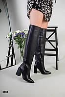 Сапоги ботфорты зимние кожаные черные на удобном каблуке, фото 1