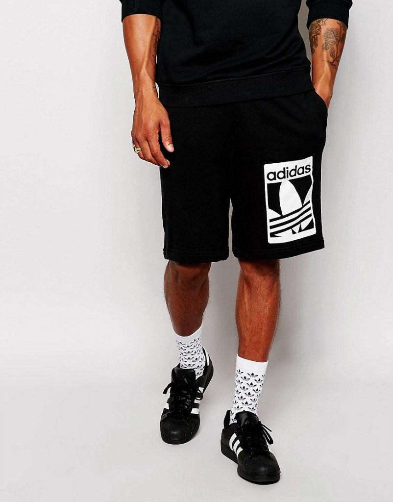 Шорти Adidas ( Адідас ) чорні білий принт