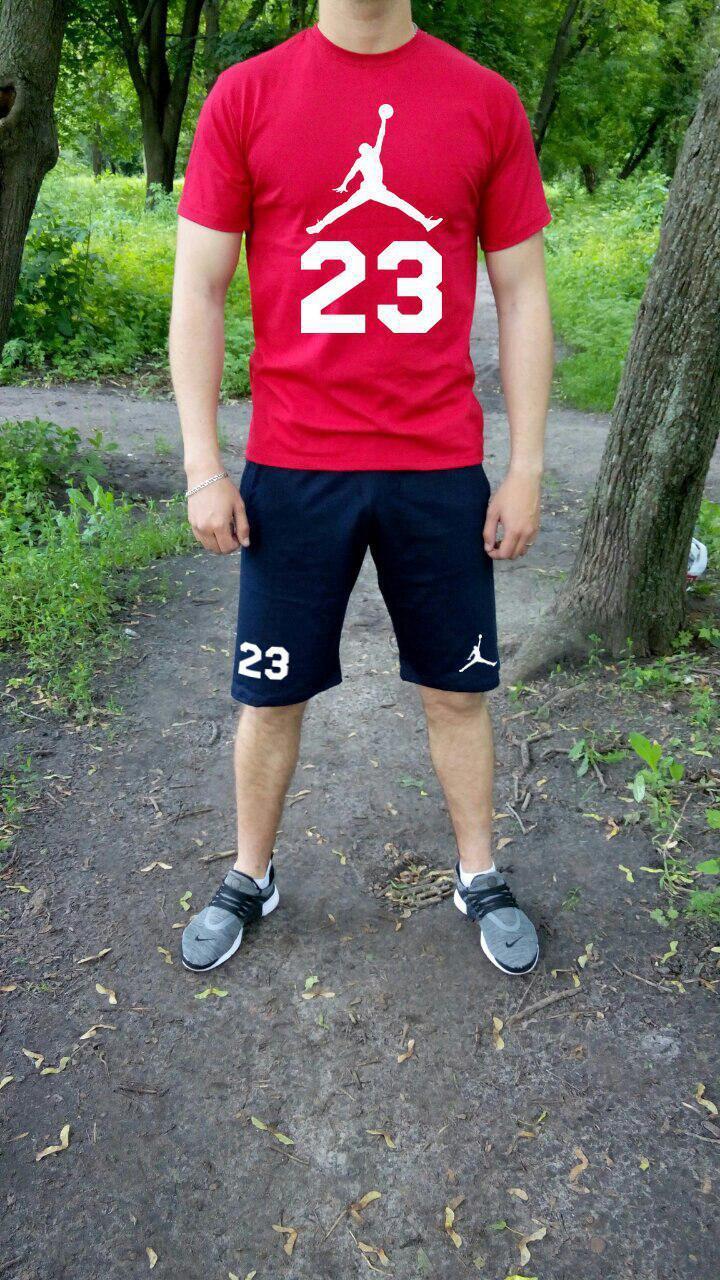 Мужской комплект футболка + шорты Jordan красного и синего цвета