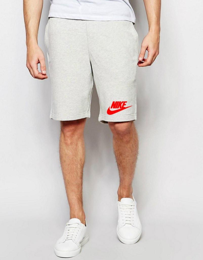 Шорты Nike ( Найк ) серые значёк+лого красное