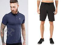 Мужской комплект поло + шорты Jordan синего и черного цвета
