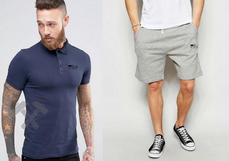 Мужской комплект поло + шортыв стиле FILA синего и серого цвета