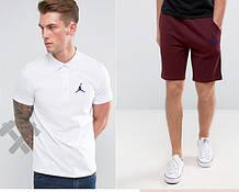 Мужской комплект поло + шорты Jordan белого и красного цвета